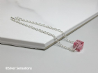Sterling Silver Chain Bracelet With Pink Swarovski Crystal Faceted Cube | Silver Sensations